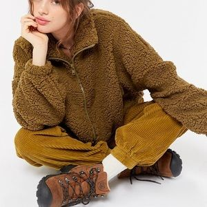 NEW Urban Outfitters Olive Teddy Jacket Medium